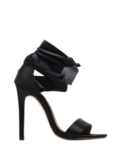 Satin Stiletto Heel Ribbon Sandals - Black 37