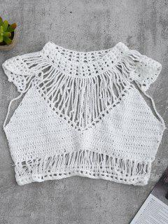 Crochet Cropped Cover Up Top - White L