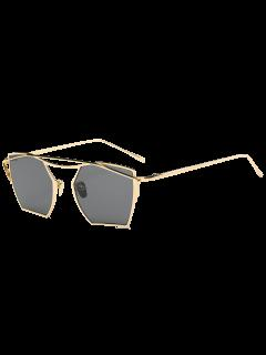 Cambered Metal Crossbar Geometric Mirror Sunglasses - Gold Frame + Black Lens