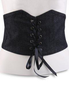 Lace Up Denim Corset Belt - Black