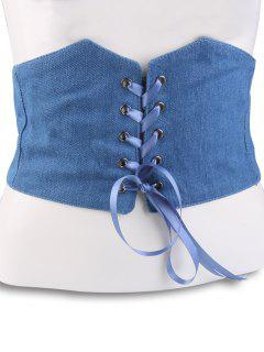 Lace Up Denim Corset Belt - Light Blue