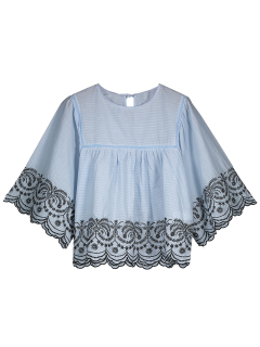 Striped Scalloped Embroidered Smock Blouse - Blue M