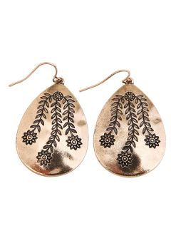 Alloy Engraved Leaf Flower Teardrop Earrings - Golden