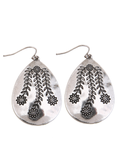 Alloy Engraved Leaf Flower Teardrop Earrings - Silver