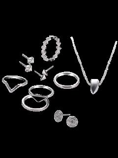 Juego De Joyas Geométricas De Diamantes De Imitación - Plata