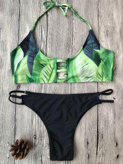 Banana Leaf Print Bralette Bikini Set - Green M