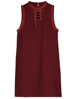 Lace Up Jewel Neck Sleeveless Dress - Wine Red L