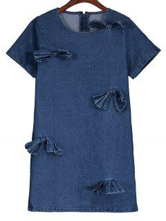 Bowknot Denim Shift Dress - Denim Blue L
