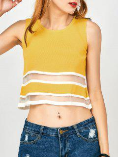 Mesh Panel Button Up Tank Top - Yellow