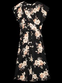 Floral Surplice Wide Leg Capri Jumpsuit - Black S