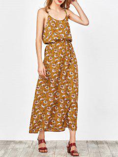 Maxi Vestido Floral De Playa - Jengibre S