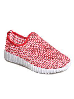 Hollow Out Breathable Athletic Shoes - Red 39