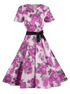 Polka Dot Floral Vintage Dress - Pink M