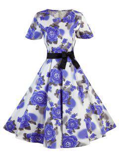 Polka Dot Floral Vintage Dress - Purple S