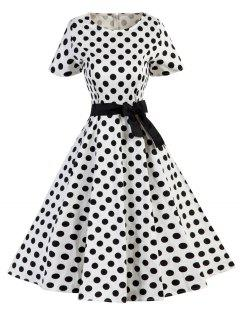Polka Dot Floral Vintage Dress - White And Black S