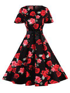 Polka Dot Floral Vintage Dress - Red + Black M