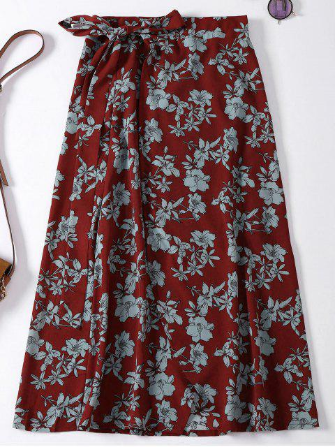 women Floral High Slit Wrap Holiday Skirt - WINE RED ONE SIZE Mobile
