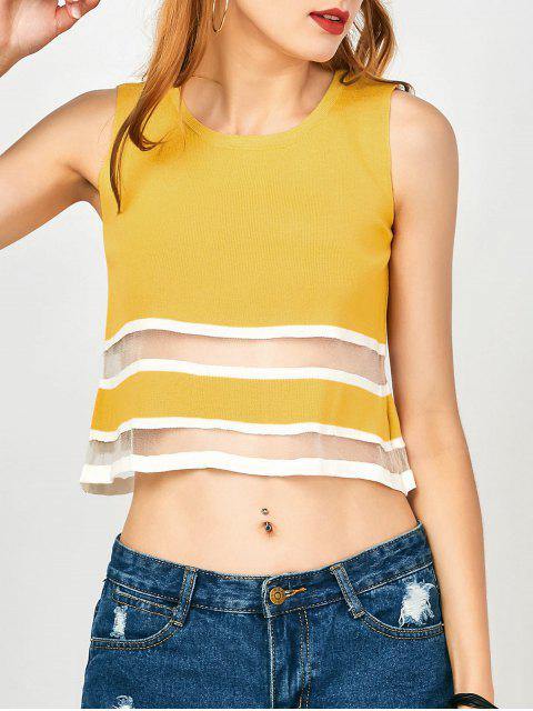 hot Mesh Panel Button Up Tank Top - YELLOW ONE SIZE Mobile