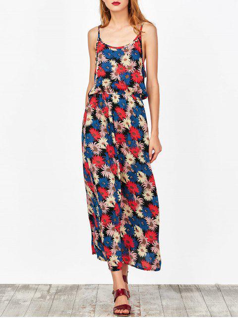 fashion Cut Out Floral Beach Dress - FLORAL M Mobile