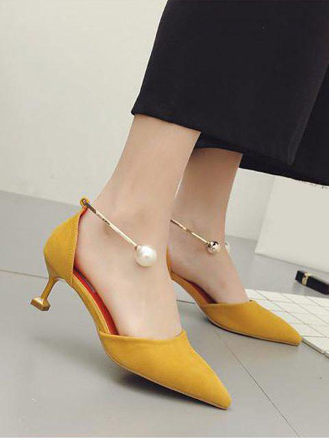 chic Faux Pearl Strange Style Pointed Toe Pumps - YELLOW 37 Mobile