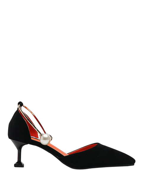 affordable Faux Pearl Strange Style Pointed Toe Pumps - BLACK 39 Mobile