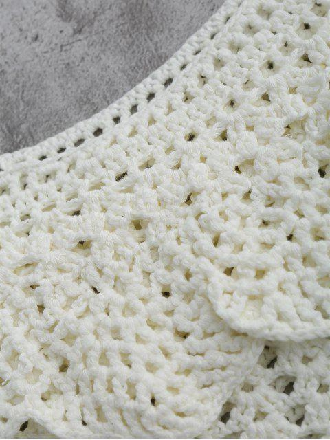 trendy Crochet Cover Up Crop Top - WHITE M Mobile