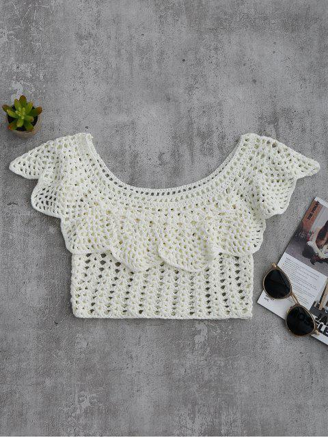 Crochet Cover Up Crop Top - Blanco L Mobile