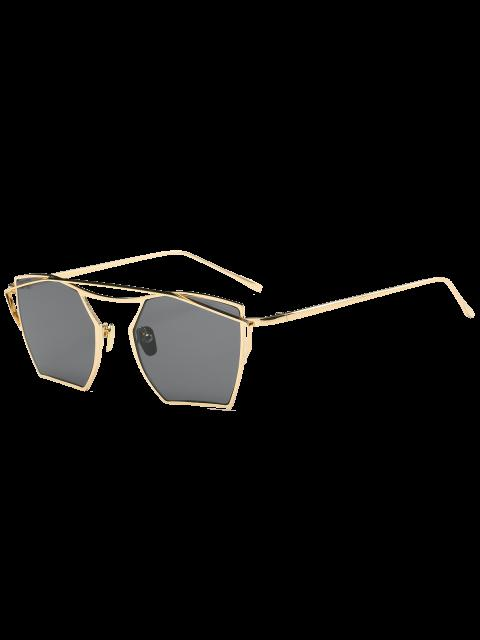 sale Cambered Metal Crossbar Geometric Mirror Sunglasses - GOLD FRAME + BLACK LENS  Mobile