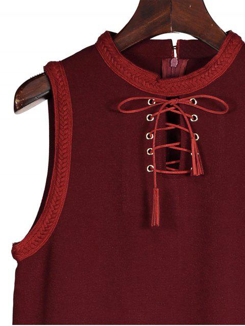 new Lace Up Jewel Neck Sleeveless Dress - WINE RED M Mobile