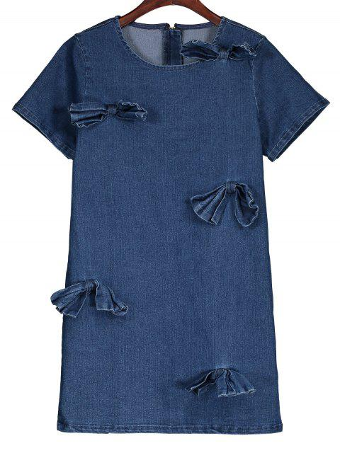 latest Bowknot Denim Shift Dress - DENIM BLUE S Mobile