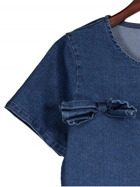 fashion Bowknot Denim Shift Dress - DENIM BLUE L Mobile