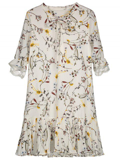 best Pussy Bow Tie Floral Pleated Hem Dress - WHITE M Mobile