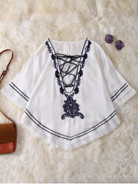 chic Embroidered Lace Up Batwing Sleeve Top - WHITE ONE SIZE Mobile