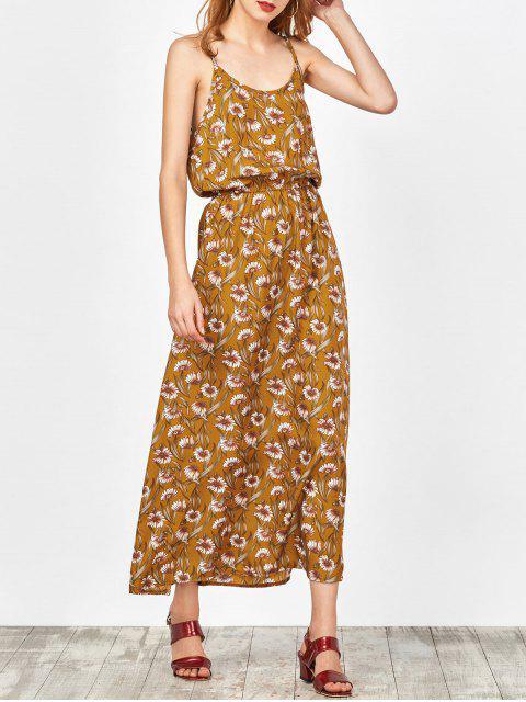Maxi Kleid am Strand mit Blumenmuster - Ingwer-Gelb M Mobile