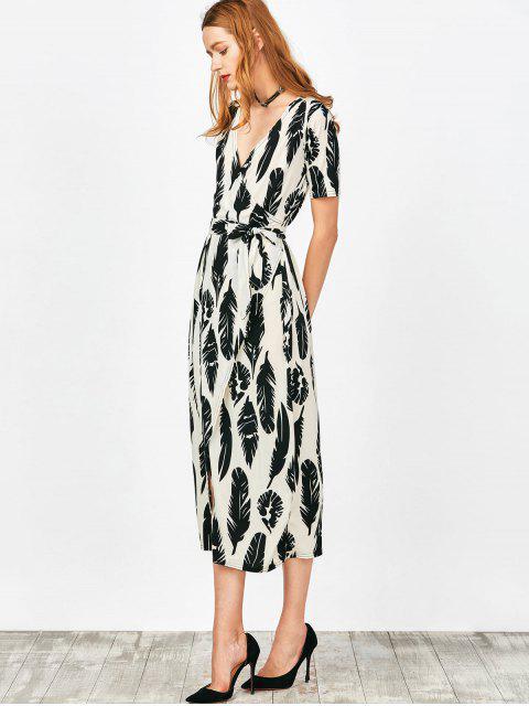 latest Feather Print Wrap Maxi Dress - WHITE M Mobile