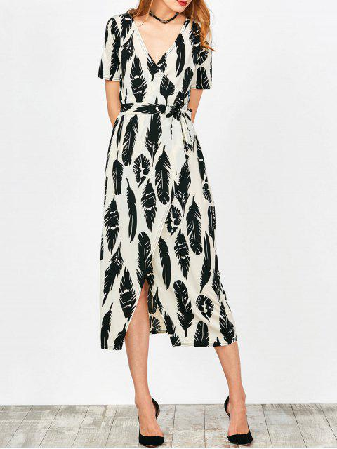 trendy Feather Print Wrap Maxi Dress - WHITE S Mobile