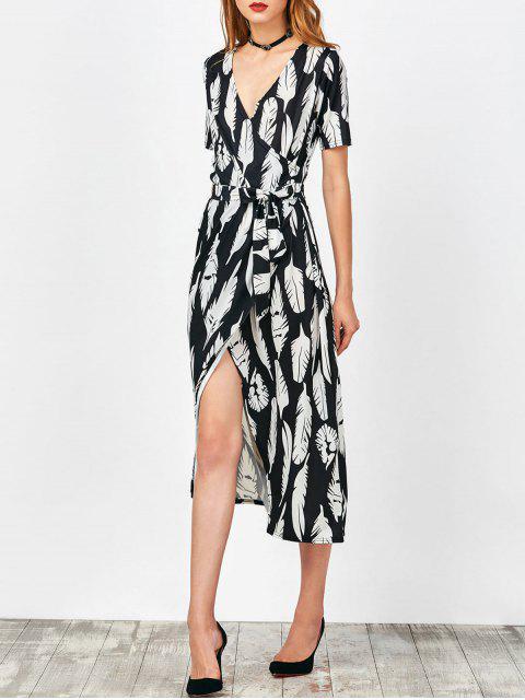 d13753b38 AE ZAFUL | أسود فستان طباعة الريشة لف ماكسي 2019 [45% OFF]