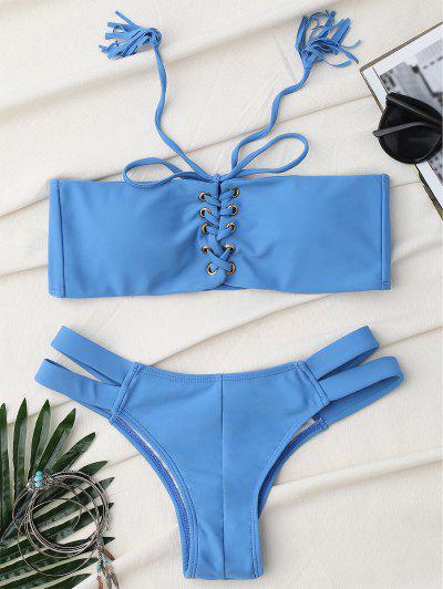 Bandage Lace Up Strapless Bathing Suit - Ice Blue S