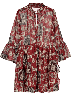 Robe Imprimée Manche évasée à Volants En Mousseline De Soie - Rouge S