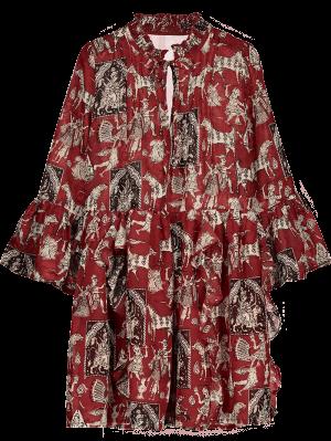 Printed Ruffle Flare Sleeve Chiffon Dress - Red M