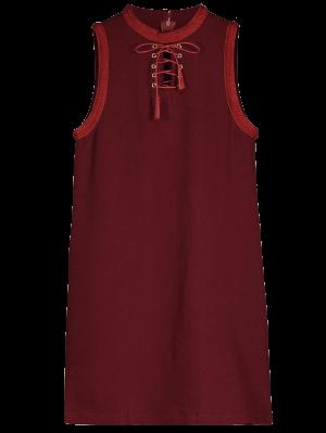 Robe Sans Manches à Encolure En Col Ras Du Cou - Rouge Vineux  M