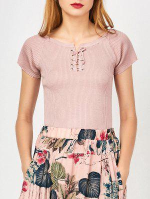 Cuello Alto Con Cordones - Rosa Desnudo