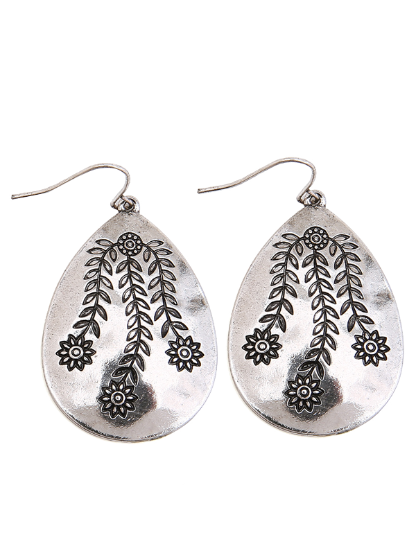 alloy engraved flower leaf teardrop earrings