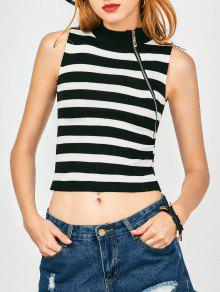 Zippered Knitting Stripes Tank Top - White And Black