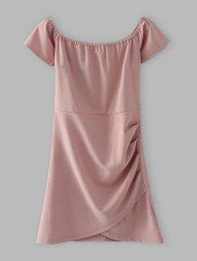 Hombro Vestido Ajustado Con Pliegues - Rosado Claro L