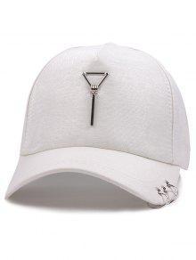المعادن دائرة مثلث قلادة البيسبول قبعة - أبيض