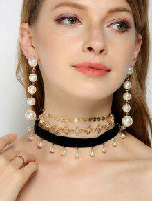 Rhinestone Faux Pearl Sequins Jewelry Set - Multicolor