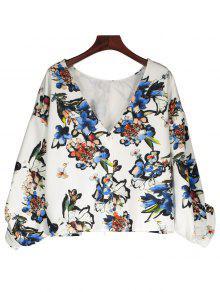 Drop Shoulder Button Up Floral Oversized Top - White L
