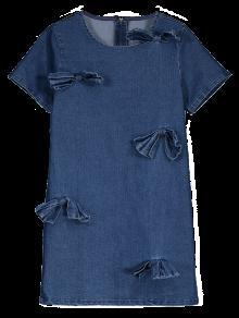 Vestido Encaje De Denim De Azul Bowknot S Mezclilla ffr5Bv