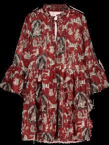 فستان طباعة كشكش توهج الأكمام شيفون - أحمر M